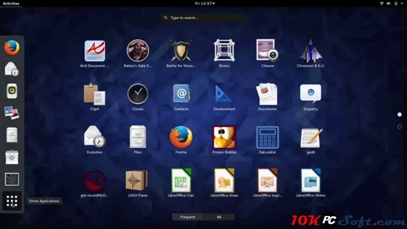 Linux Fedora 25 Interface